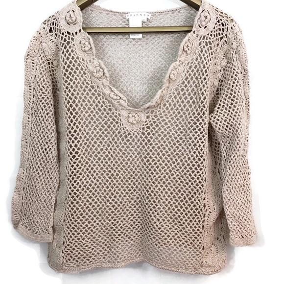 Spanner Crochet 3/4 Sleeve Open Knit V Neck Top